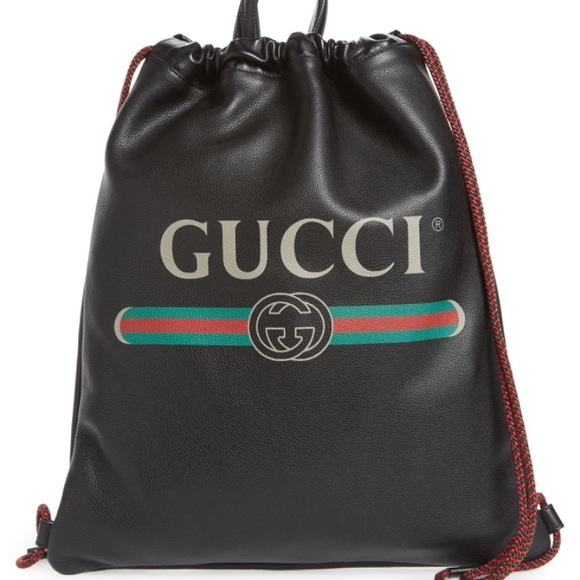 Gucci Other - GUCCI Logo Leather Drawstring Backpack